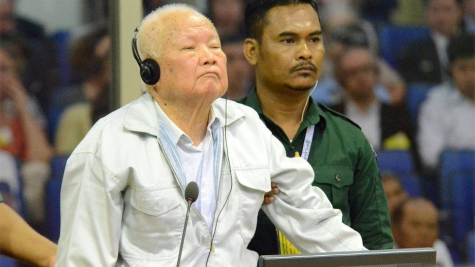Khieu Samphan stands in court