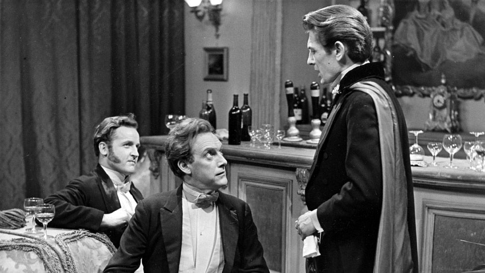 Nicholas Parsons as Taffy, Graham Crowden as Sandy and Eric Lander as Billy in Trilby in 1959