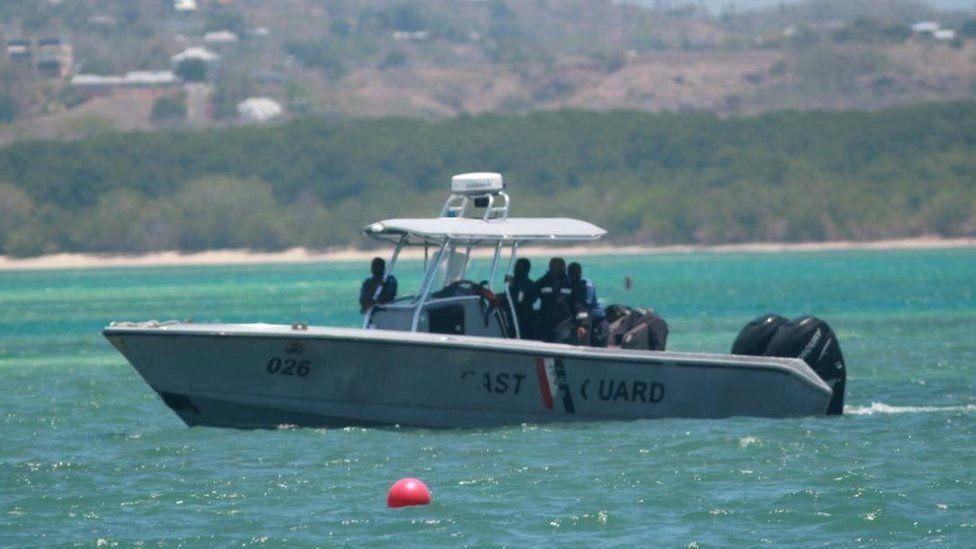 A Trinidad and Tobago coast guard boat patrolling the waters