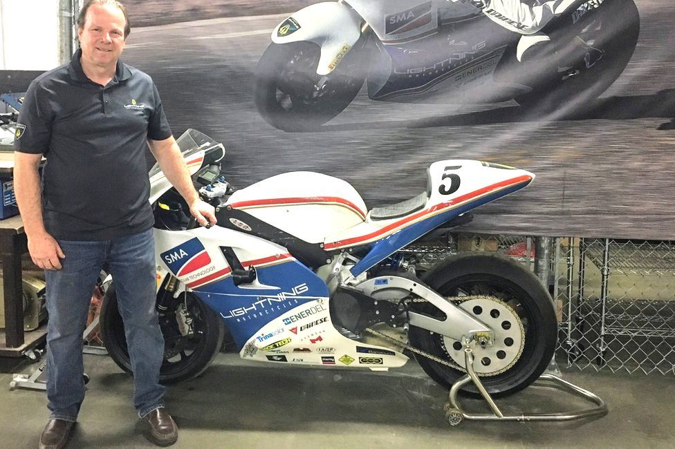 Lightning Motorcycles boss Richard Hatfield in front of electric superbike