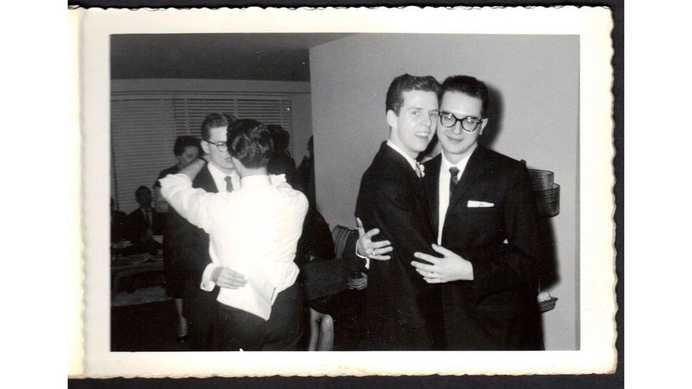 Couples dance at a 1957 wedding