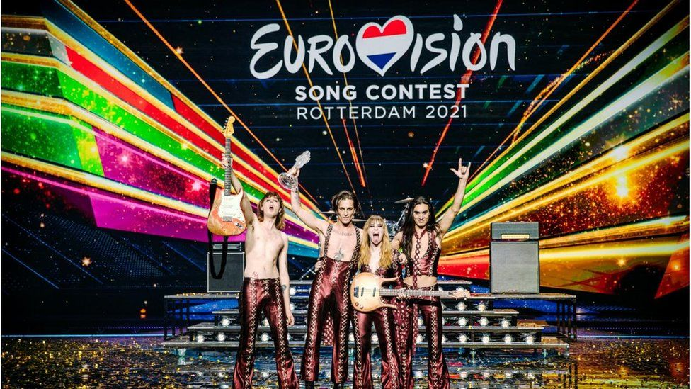 Picture of Maneskin winning the Eurovision Song Contest