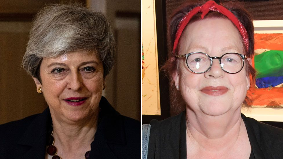 Theresa May and Jo Brand
