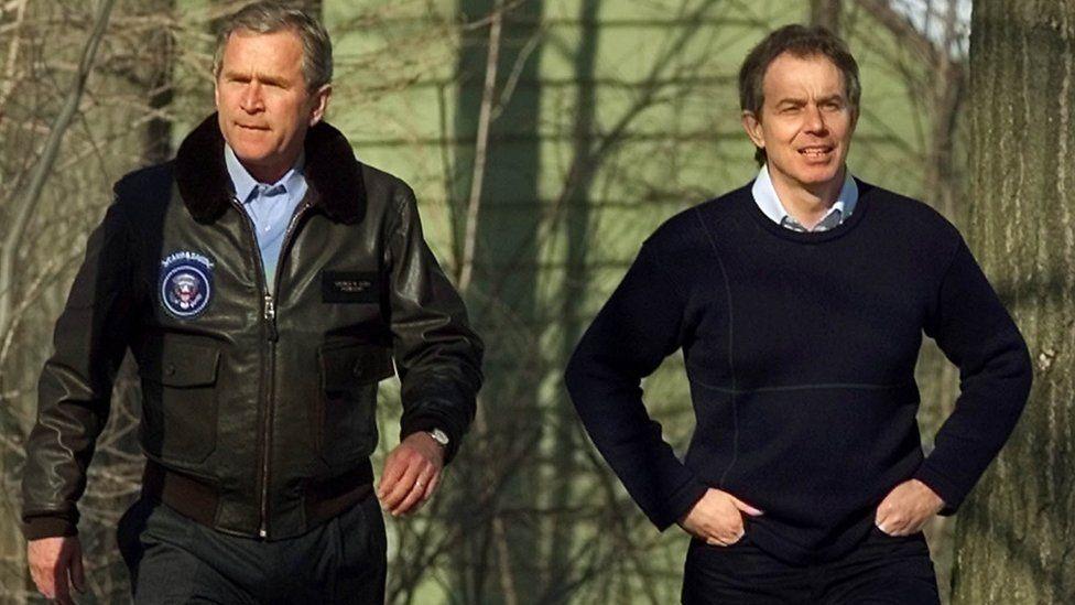 George W Bush and Tony Blair in 2001