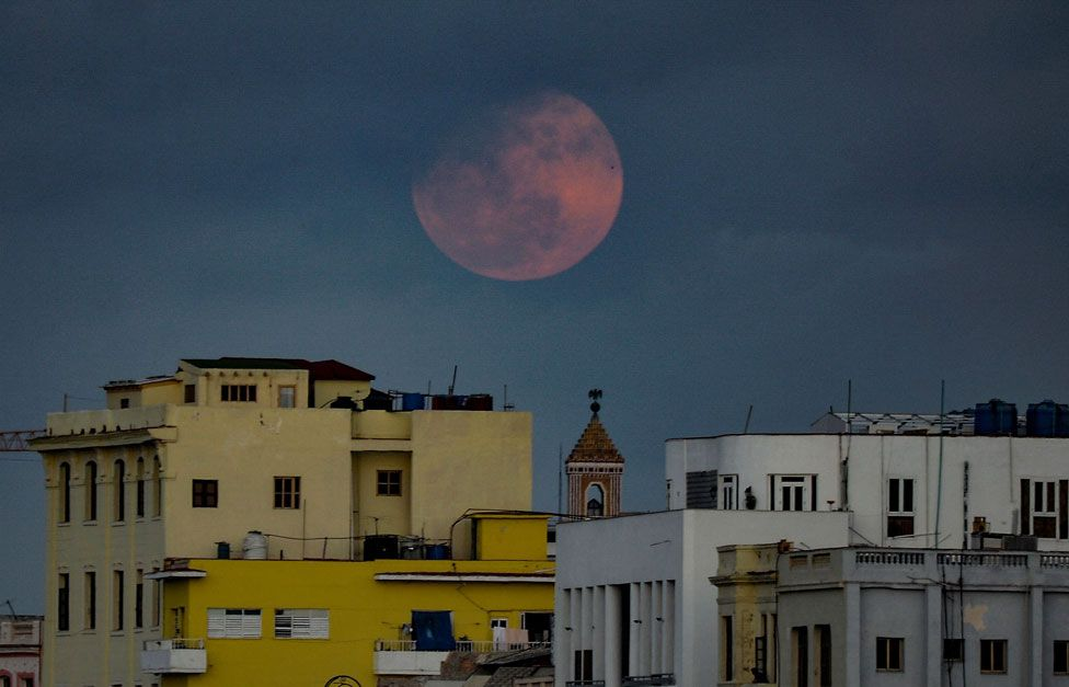 The pink supermoon seen above Havana in Cuba
