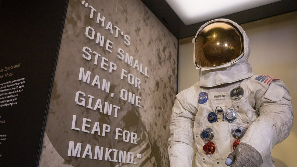 "US astronaut Neil Armstrong""s Apollo 11 spacesuit on display at the Smithsonian National Air and Space Museum"