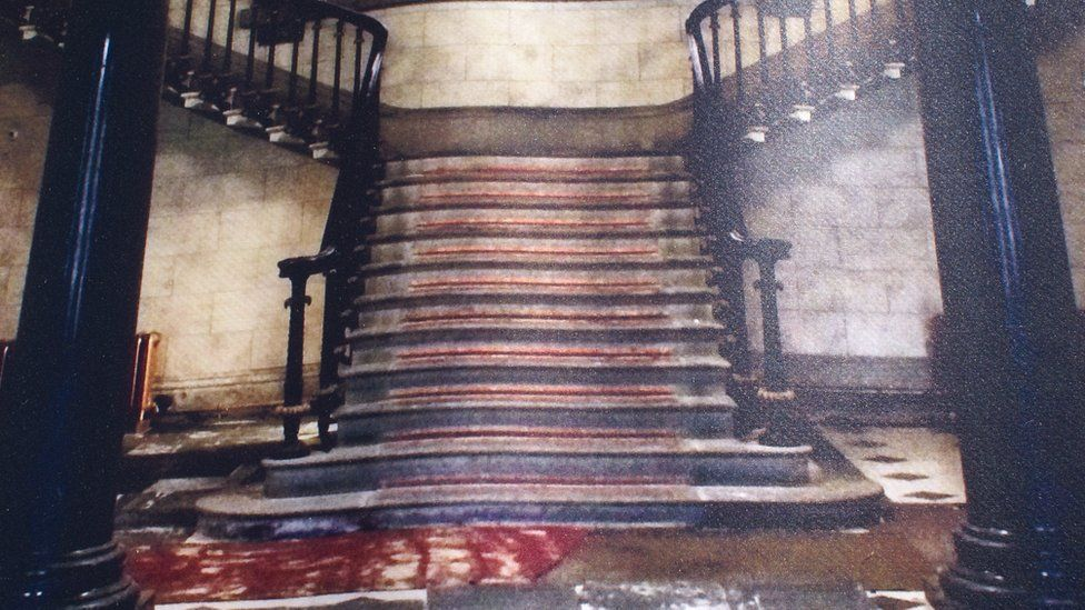Before the restoration - the main entrance and staircase at Plas Glynllifon