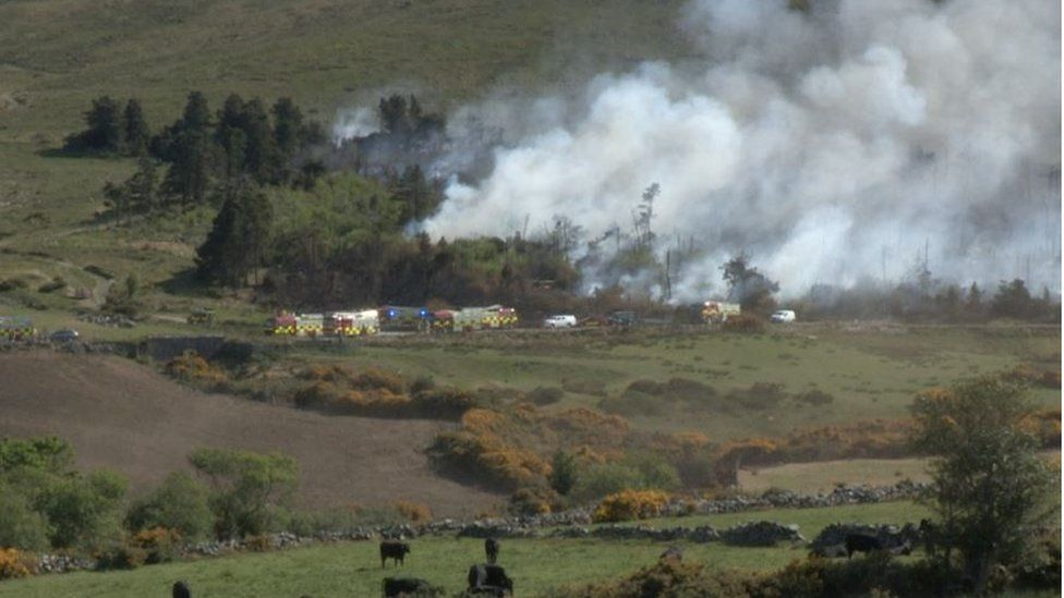 A number of fire engines attended the incident near Castlewellan