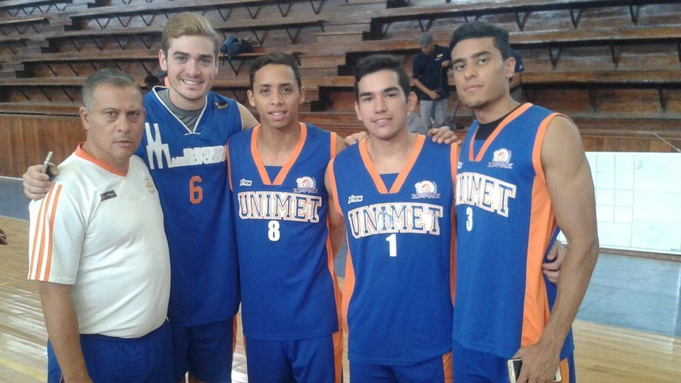 Juan Pablo with his basketball team