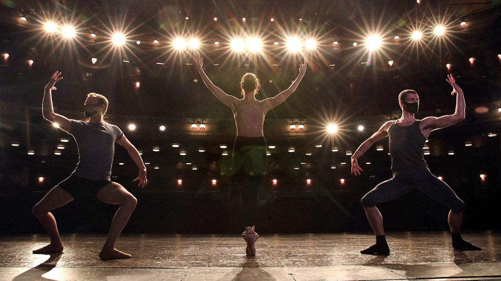 Dancers from Scottish Ballet on stage at the Edinburgh Festival Theatre in August 2020