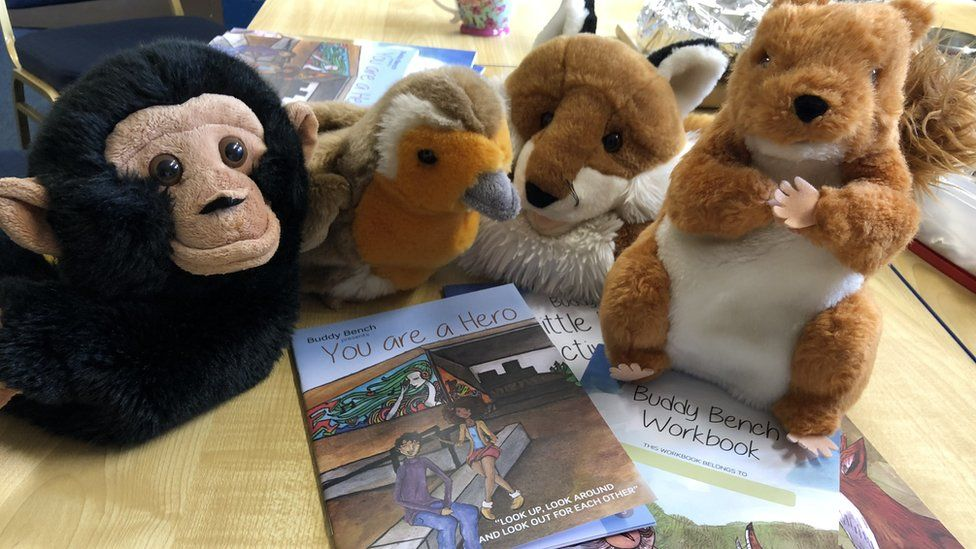 Buddy Bench materials - cuddly toys and books