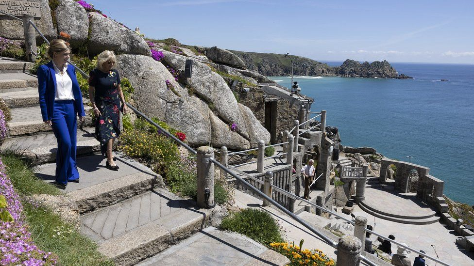 Prime Ministers wife Carrie Johnson walks with US First Lady Dr Jill Biden at the Minack Theatre