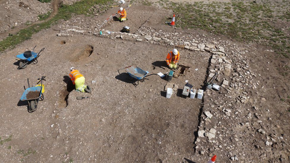Burial excavation within a Roman building
