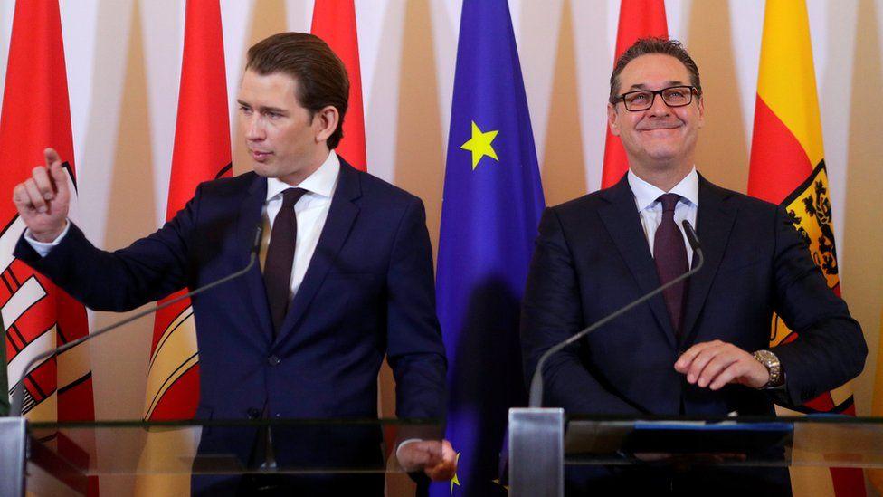 Austria's Chancellor Sebastian Kurz and Vice Chancellor Heinz-Christian Strache address the media after a cabinet meeting in Vienna, Austria,