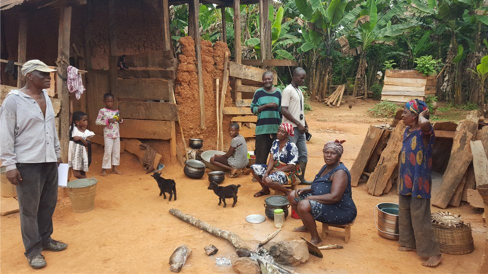 Family in farmyard