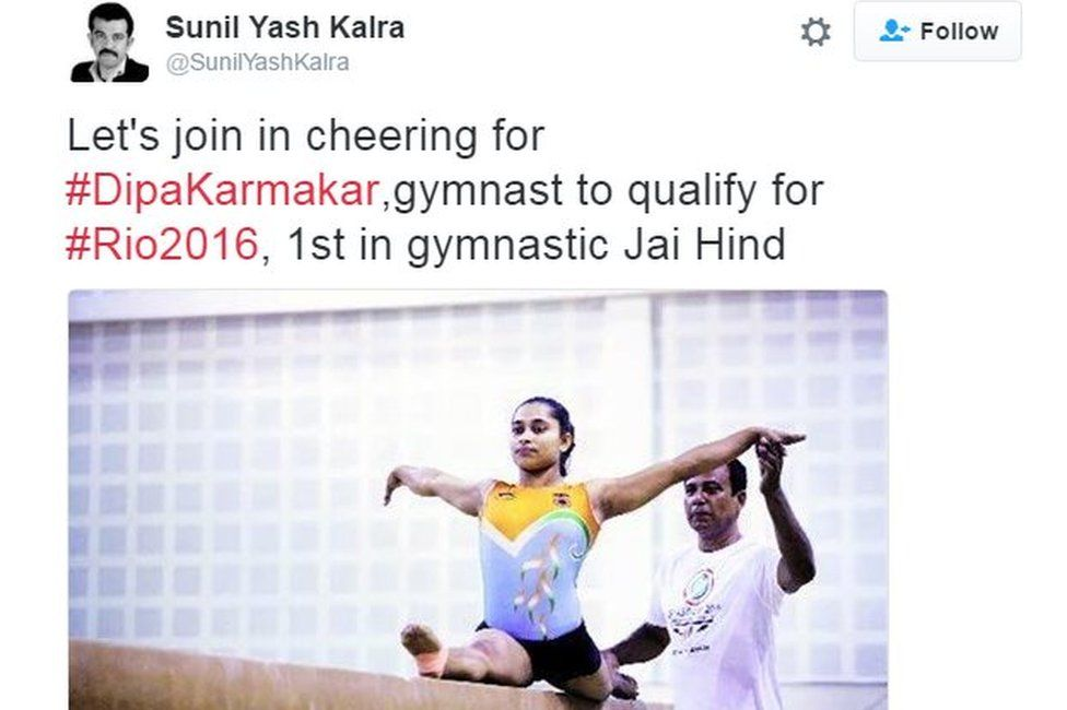 Let's join in cheering for #DipaKarmakar,gymnast to qualify for #Rio2016, 1st in gymnastic Jai Hind