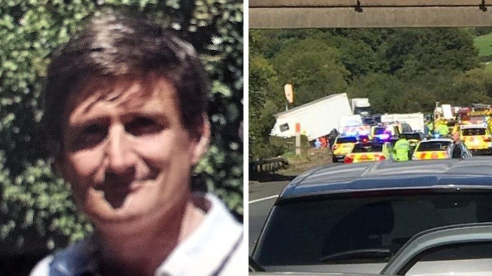 Adrian Beaumont and scene of crash