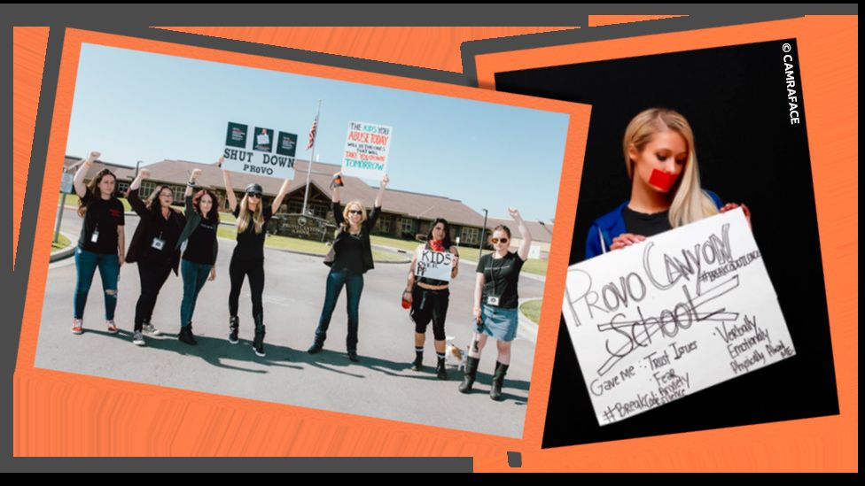 Collage image showing Paris Hilton alongside other protestors outside Provo Canyon and holding a sign in image with red tape over her mouth