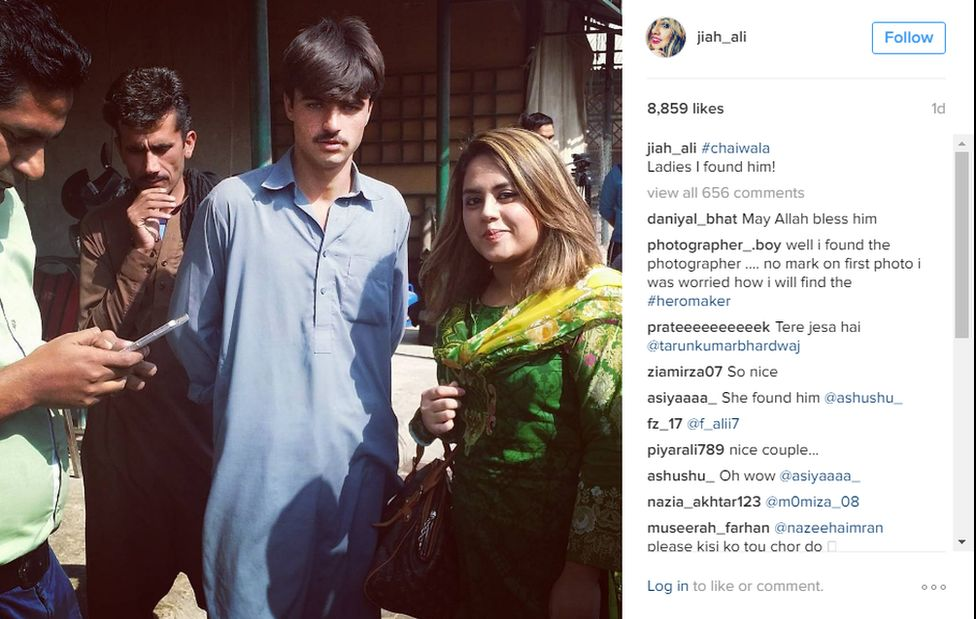 """Photographer Javeria """"Jiah"""" Ali pictured with chai wala-turned model Arshad Khan on her Instagram"""