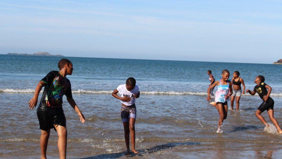 Children in sea at St Davids