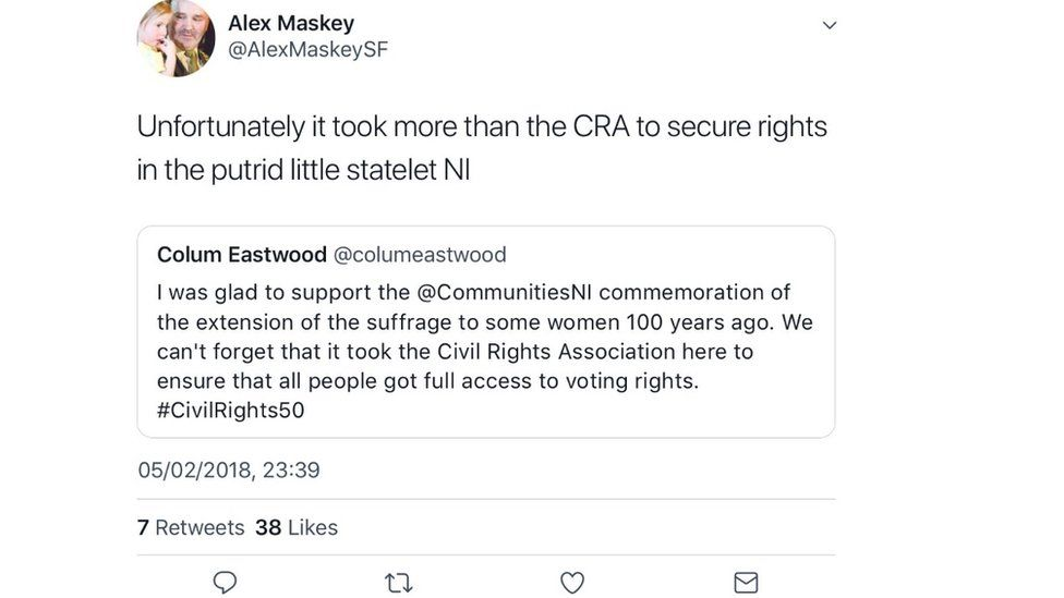 Alex Maskey Tweet