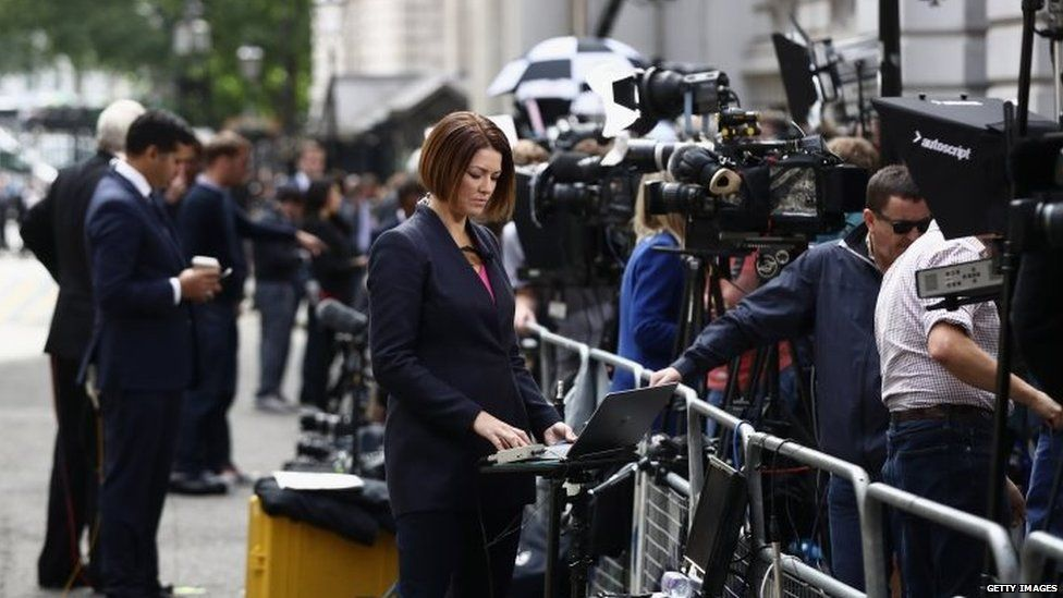 Reporters in Downing Street