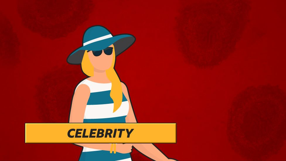 """""""The Celebrity"""": Woman in hat and striped dress against red background"""