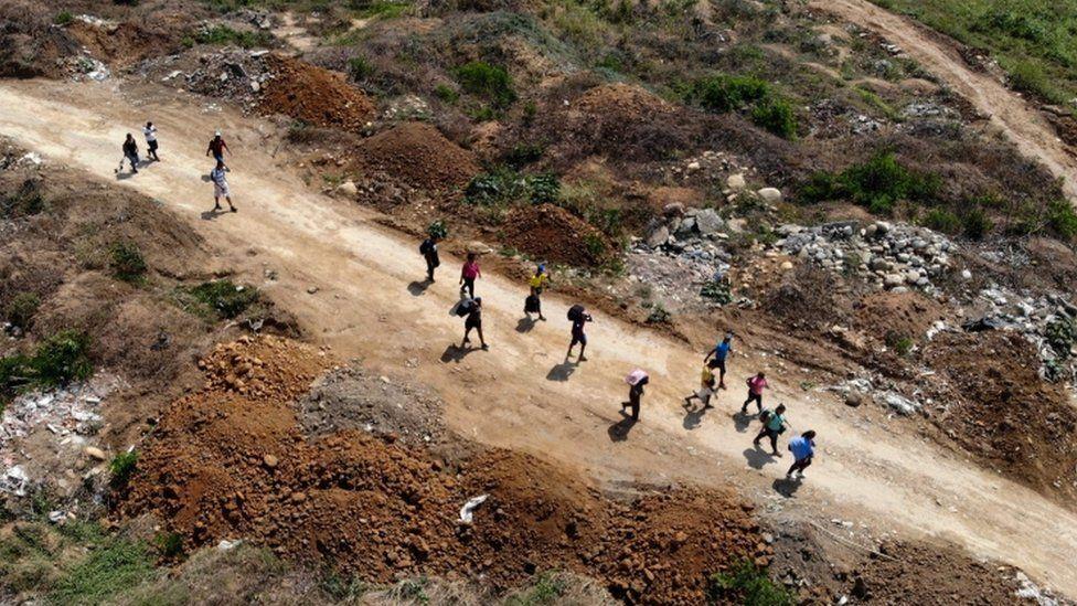 "Venezuelans cross from their country through ""Trochas"" - illegal trails - near the Simon Bolivar International Bridge in Villa del Rosario, Norte de Santander, Colombia"