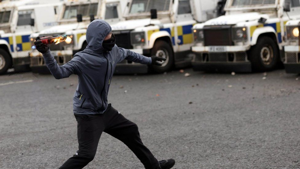 Riots in west Belfast on 8/04/21