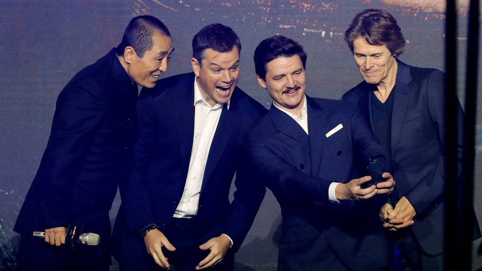 The Great Wall's director Zhang Yimou with actors Matt Damon, Pedro Pascal and Willem Dafoe