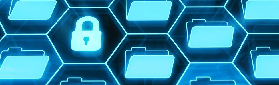 Creative image of lock and folders