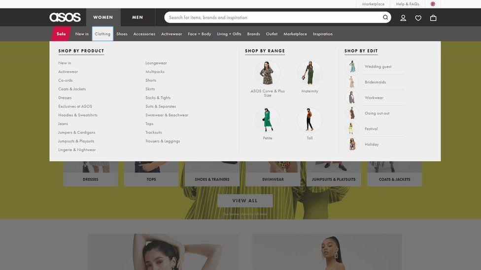 Asos website navigation menu
