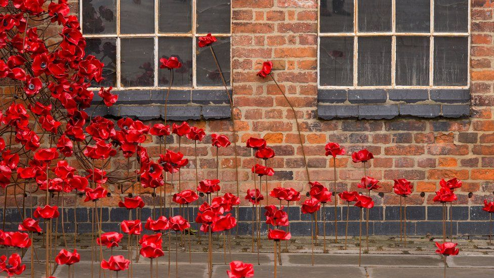 The poppy sculpture Weeping Window opens at The Silk Mill in Derby