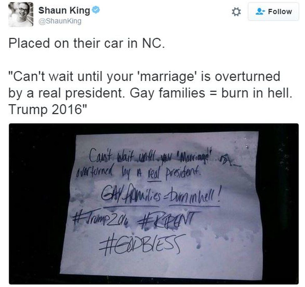"""Tweet from user Shaunking reads: """"Placed on their car in NC."""""""