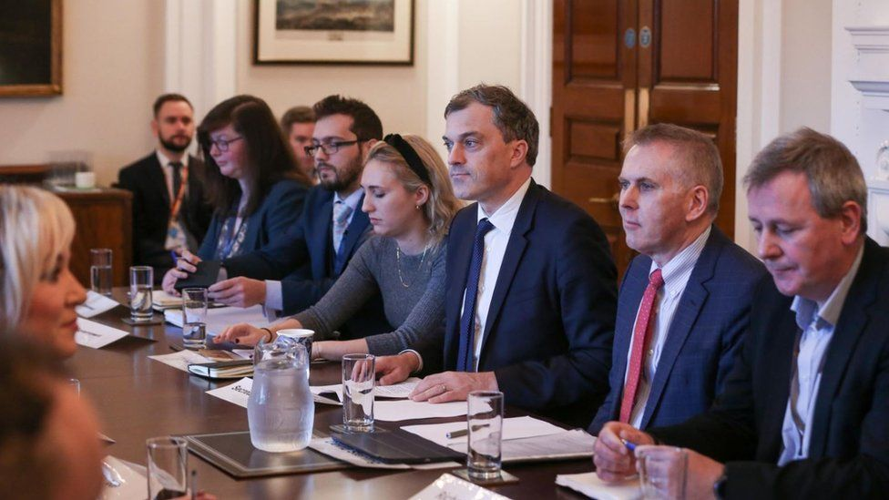 Northern Ireland Secretary Julian Smith at Stormont in Belfast as he hosts a summit to urge Stormont's leaders to make a series of commitments to tackle Northern Ireland's spiralling health service crisis