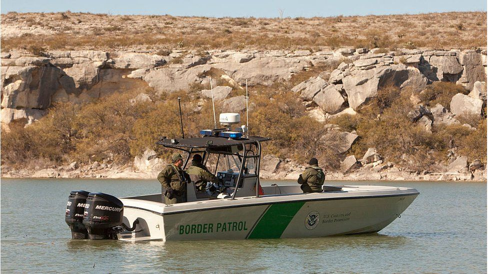 A United States Border Patrol boat surveys the Rio Grande River and Texas' border with Mexico