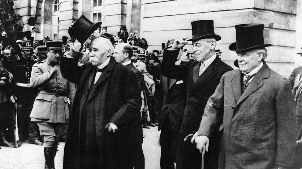 David Lloyd George with Woodrow Wilson and Georges Clemenceau