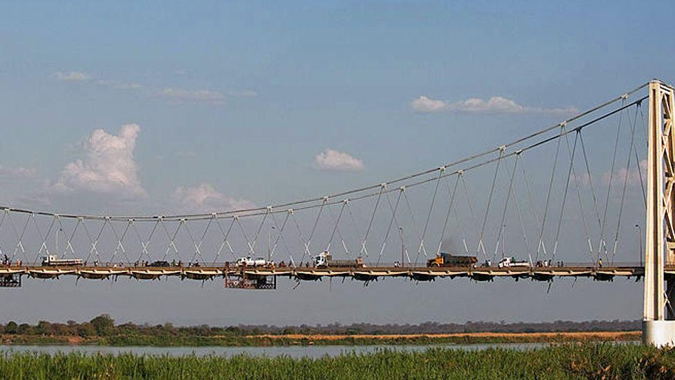 A bridge over the Zambezi river in Tete , Mozambique