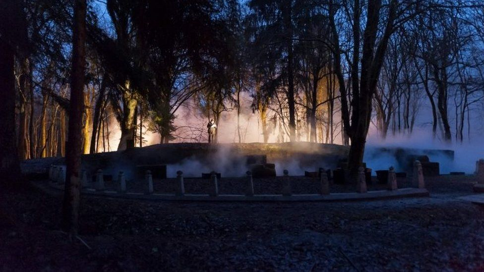 A re-enactment of the bombardment of an artillery bombardment in the Bois des Caures as part of the centenary of the battle of Verdun (21 February 2016)