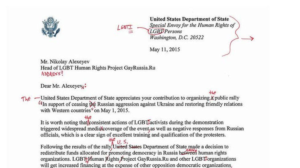 Letter published in Izvestia, with red markings from US State department correct mistakes