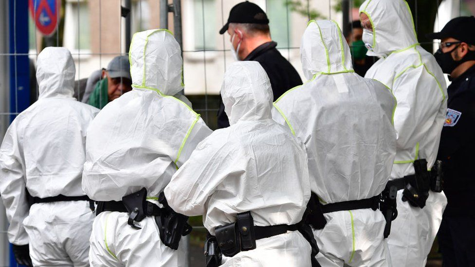 Tower block in Germany where there have been clashes with police trying to enforce a coronavirus quarantine