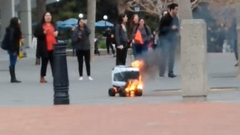 A robot on fire