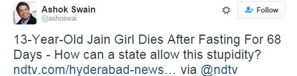 13-Year-Old Jain Girl Dies After Fasting For 68 Days - How can a state allow this stupidity? http://www.ndtv.com/hyderabad-news/13-year-old-jain-girl-dies-in-hyderabad-after-fasting-for-68-days-1471700 … via @ndtv