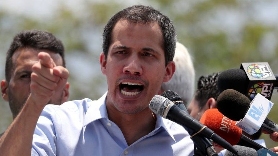 Venezuelan opposition leader Juan Guaido, who many nations have recognised as the country's rightful interim ruler, speaks at a rally against the government of Venezuela's President Nicolas Maduro in Guatire, Venezuela May 18, 2019.