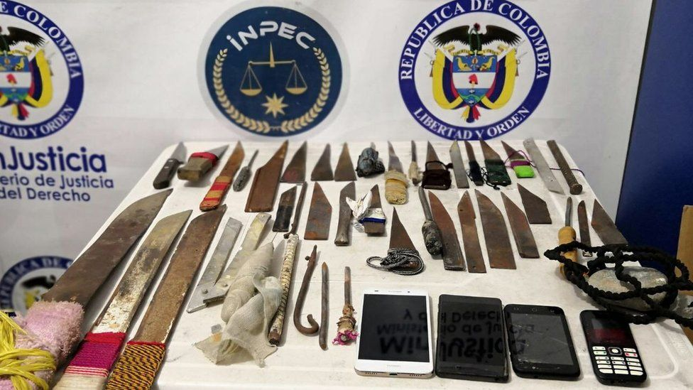 Handout photo by the Colombian prison authorities showing the weapons seized in Villavicencio jail