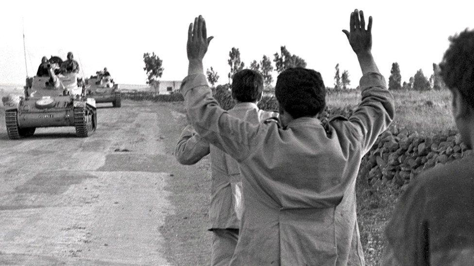 Syrians being taken prisoner by Israeli troops