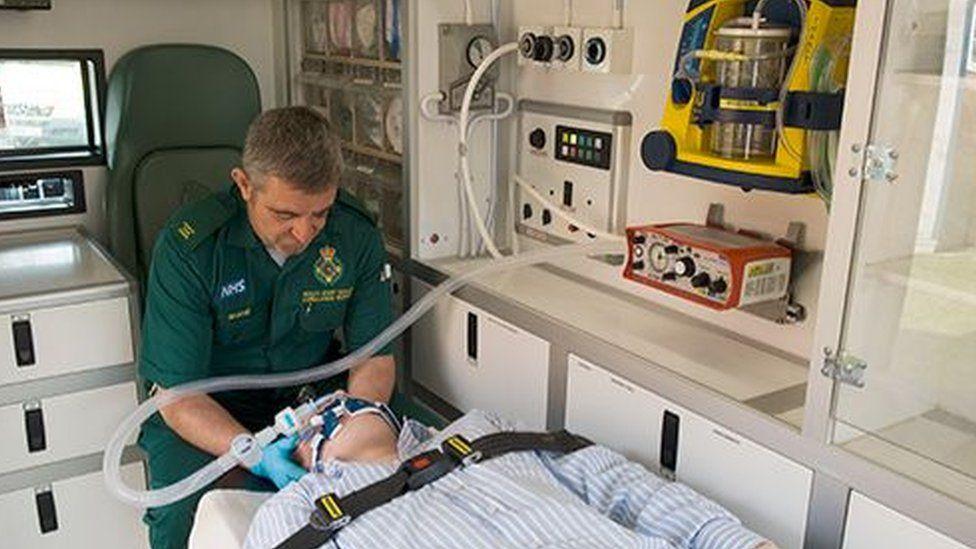 Paramedic with Smith's PARAPAC ventilator
