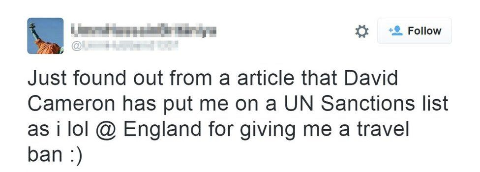 """Sally-Anne Jones tweets: """"Just found out from a article that David Cameron has put me on a UN sanctions list as i lol @ England for giving me a travel ban :)"""""""