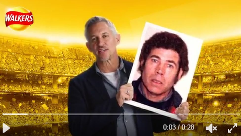 Gary Lineker holds up a card superimposed with a picture of Fred West