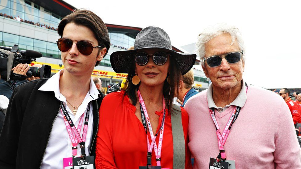 Dylan Douglas, Catherine Zeta Jones, Michael Douglas at British F1 Grand Prix at Silverstone in July, 2019